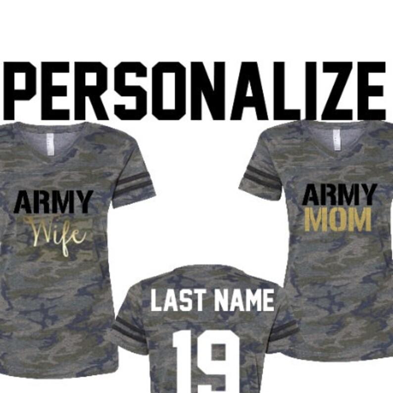 247d5b33 Army Wife Shirt & Army Bride Personalized Army Mom Jerseys | Etsy