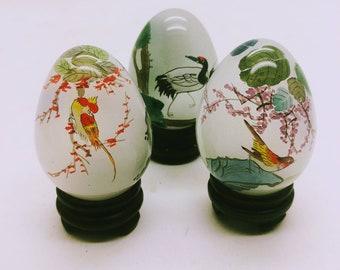 Vintage handmade handpainted Japanese marble decorated egg