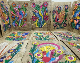 Vintage Hand Made Paintings On Handmade Paper Made In Mexico Colorful  Animal Mexican Folk Art Drawings Bought Bulk From Artists Mystery Pick