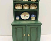 Vintage Adorable Dollhouse Kitchen Rustic Pantry China Cabinet Farmhouse Dollhouse Furniture Green Shelf Cabnet for Dollhouse Country Decor