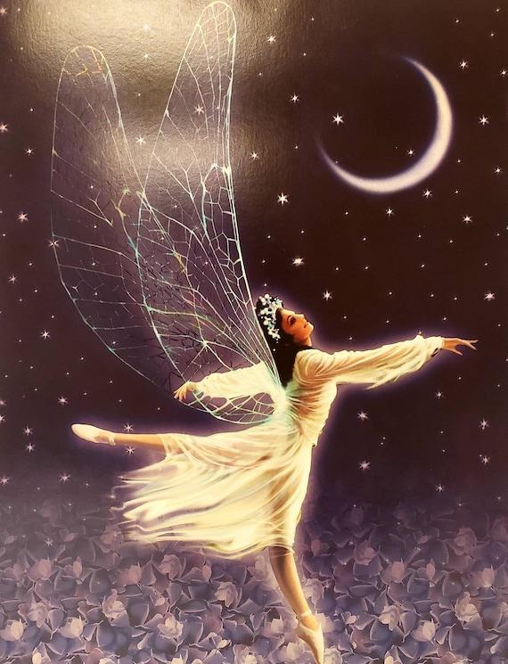 Cardstock Art Framable Birthday Card Painting Art Print 11x 14 Farie Dance Angel Art Faries Art Fairy Art Print Purple Fairy