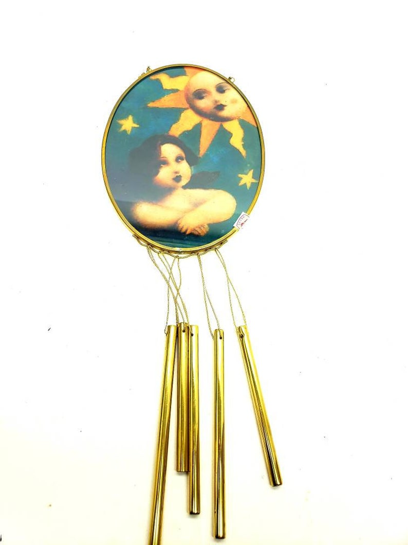 Stained Glass Chime Angel Garden Vintage Viva Vermont Handmade in Mexico Stained Glass Angel Cherub Moon and Stars Suncatcher Windchime