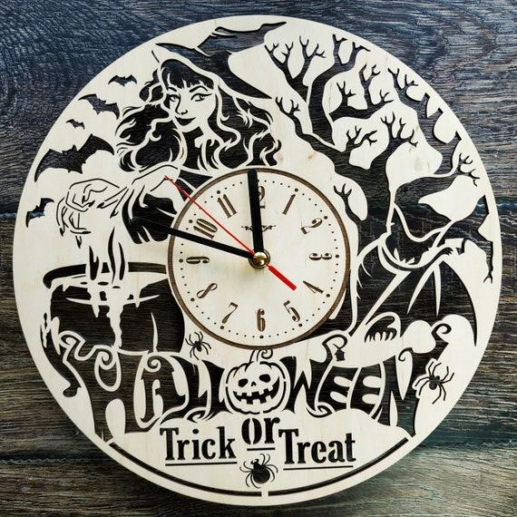 Halloween Wall Art Clock Horror Home Kitchen Living Room Decor Etsy