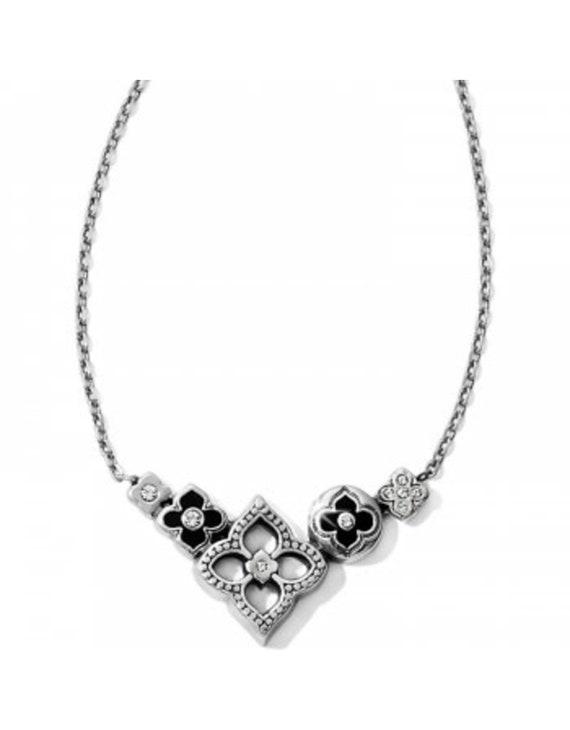 Silver Black Women Jewelry Retired Design Rare Find Brighton Silver platedCotton cord NWT Brand New Toledo Long Necklace