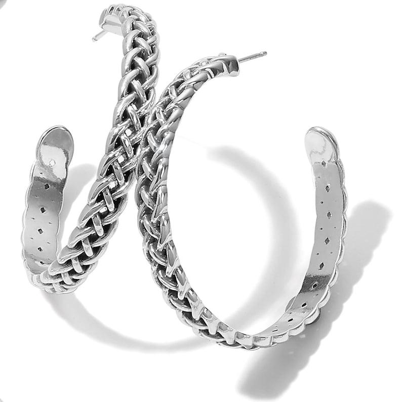 NWT Brand New Interlok Braid Petite Leverback Earrings Women Jewelry Retired Design Rare Find Brighton Silver plated