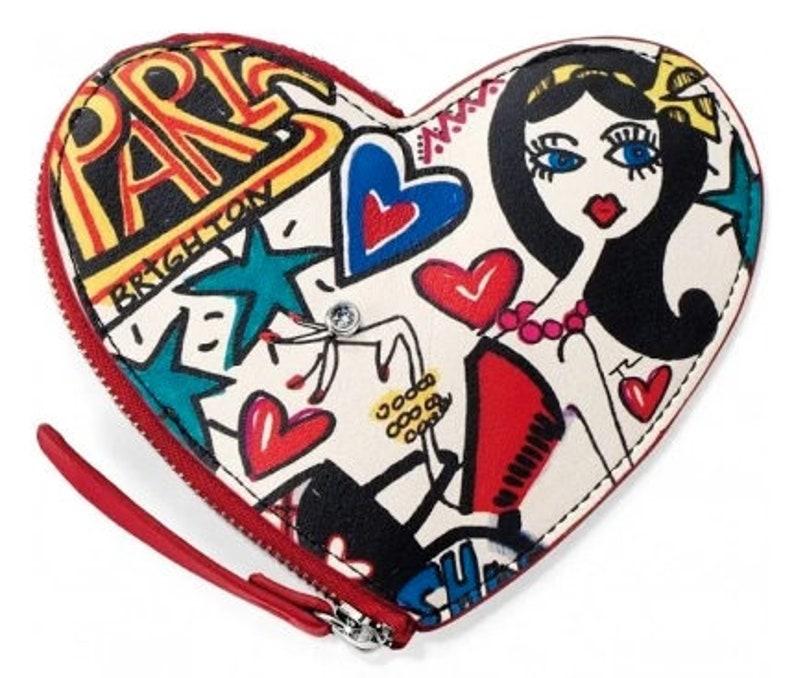 Leather NWT Brand New Graffiti Heart Coin Purse Women Retired Design Rare Find Brighton