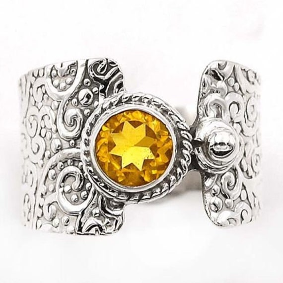 Details about  /Natural Citrine Gold Plated 925 Sterling Silver Jesus Fish Inspired Ring SZ 9