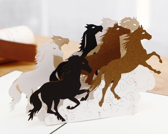 Liif Galloping Horses 3D Pop Up Card For All Occasions Birthday Horse Gift Lover