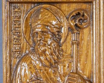 Rustic Wood Carving (St. Patrick)