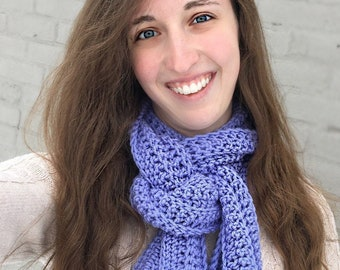 Periwinkle Blue Crocheted Scarf