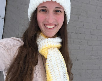 Scarf and Hat Combo (Yellow/White)