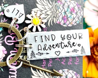Adventure Awaits/Adventure Time/Wanderlust Gift/Adventure Keychain/Hiking GIfts/Camping Keychain/Travel Keychain/Nature Lover Gift/Mountains