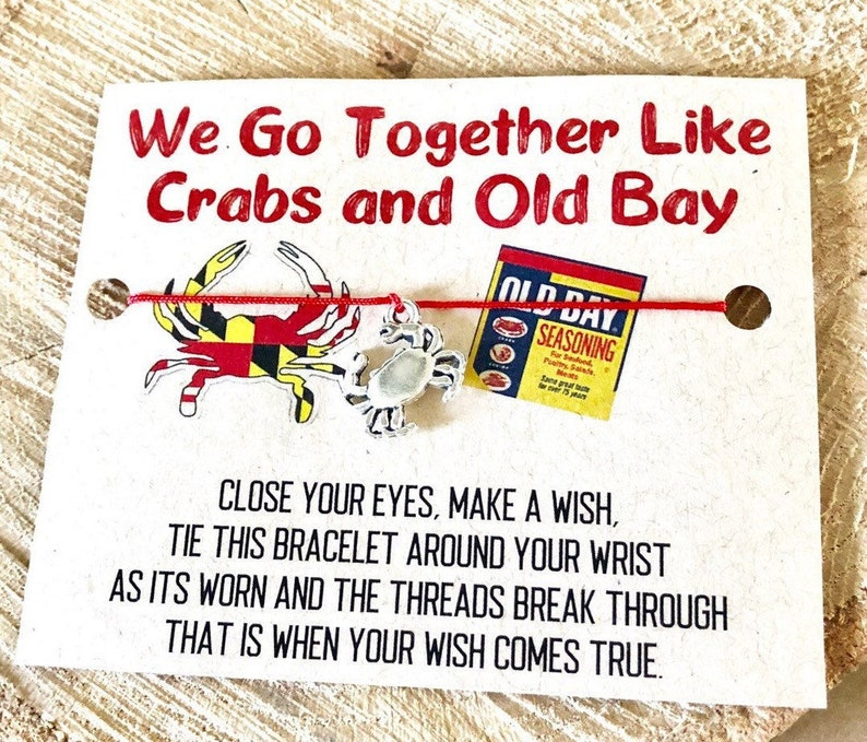 Crab BraceletWish BraceletMaryland JewelryMaryland GiftsMaryland CrabMaryland Crab GiftsCrab JewelryCrab BraceletOld Bay
