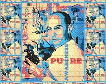 Psychedelic Blotter Art // Albert Hofmann 2021 Pure Awareness // 500 Hits 21.5 cm x 17.5 cm