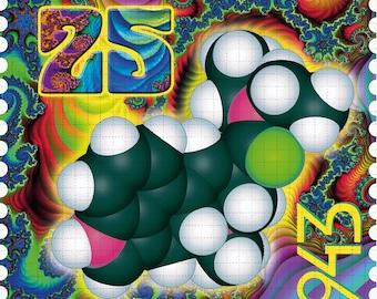"Psychedelic Blotter Art // ALBERT HOFMANN Molecular Stamp  // 900 Hits 7.5"" x 7.5"""