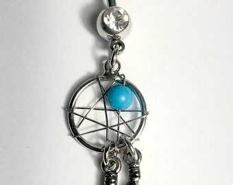 Feather Dream Catcher Belly Bar Surgical Steal