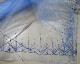 blue organza with glitter snowflakes prints for frozen 2 dress Snowflakes Fabric  Frozen Fabric by the yards