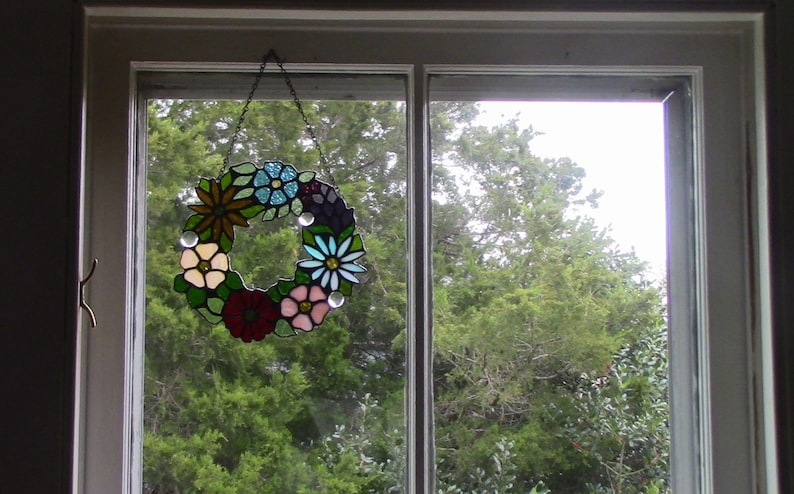 Wildflower Stained Glass Wreath 8