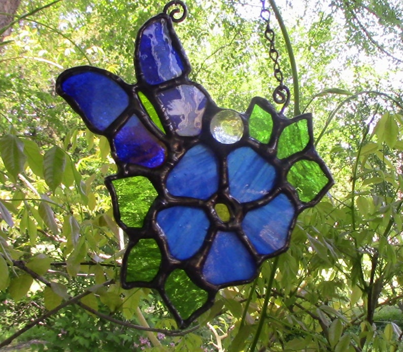 Blue Flower and Butterfly Stained Glass