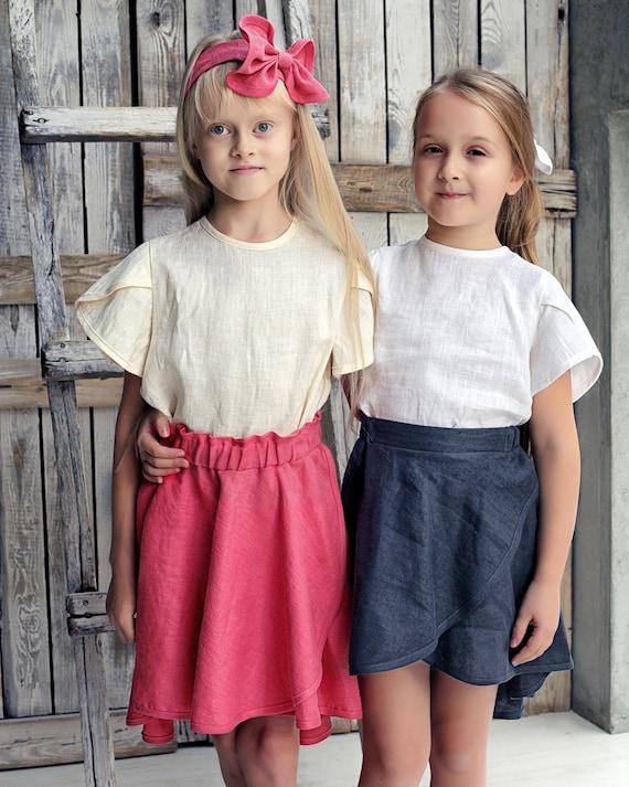 Girl skirt set Linen girls outfit Skirts for girls Skirt   Etsy