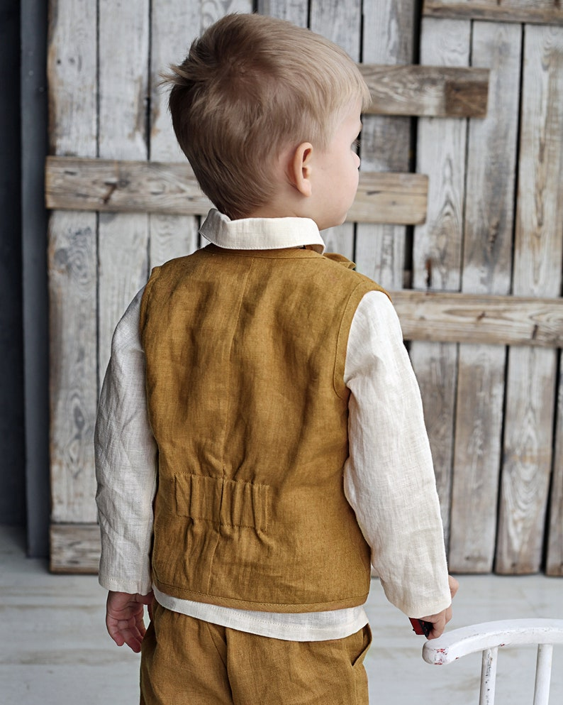 Boys vest and shorts set Boys suit set Linen boys west suit Linen boys suit Linen boys outfit Linen boys clothes Ready to ship 3T