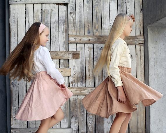 Girl with skirt image Girl Circle Skirt Skirts For Girls Linen Skirt Circle Skirt Etsy