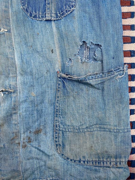 1940s/50s Thrashed Chore Jacket Workwear Coat Den… - image 7