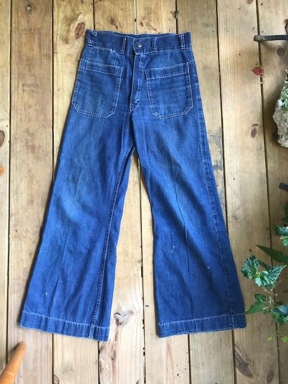 WW2 1940s Navy USN Sailor Jeans Denim Pants Dunga… - image 2