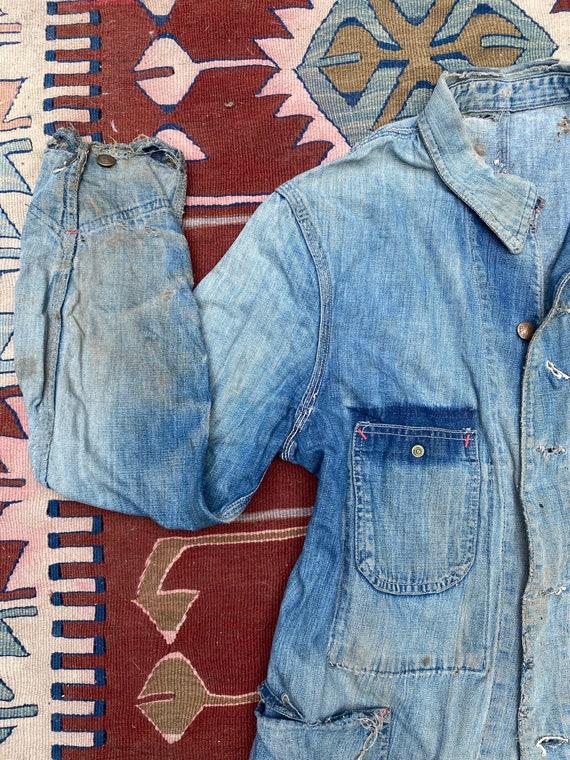 1940s/50s Thrashed Chore Jacket Workwear Coat Den… - image 5