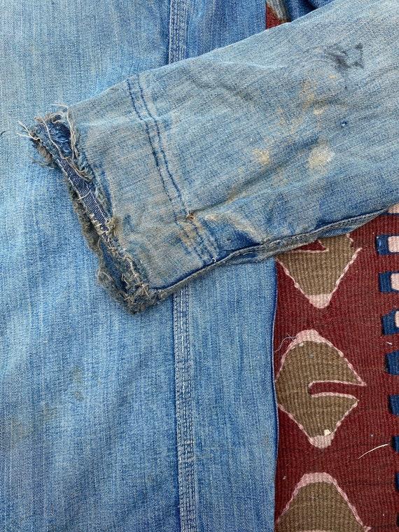 1940s/50s Thrashed Chore Jacket Workwear Coat Den… - image 10