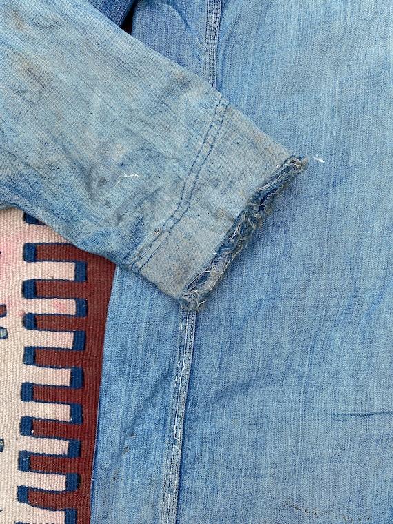 1940s/50s Thrashed Chore Jacket Workwear Coat Den… - image 6