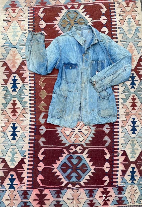 1940s/50s Thrashed Chore Jacket Workwear Coat Den… - image 1