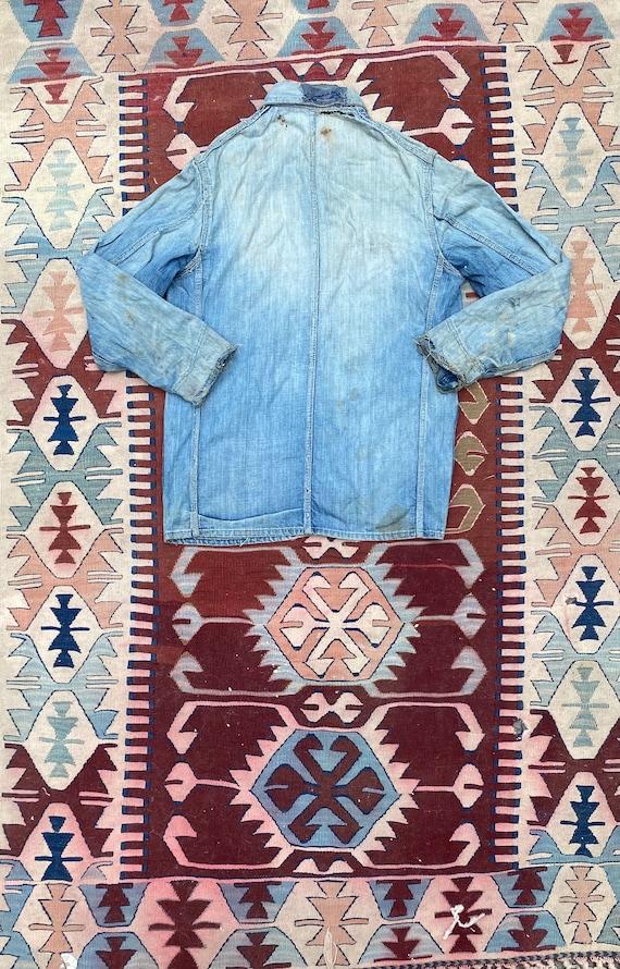 1940s/50s Thrashed Chore Jacket Workwear Coat Den… - image 2