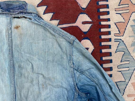 1940s/50s Thrashed Chore Jacket Workwear Coat Den… - image 8