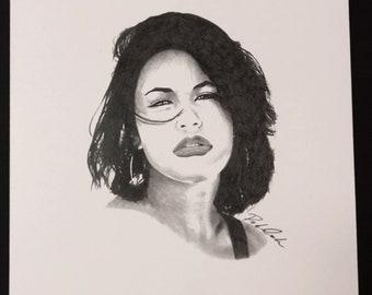 Selena Quintanilla Portrait Drawing Print