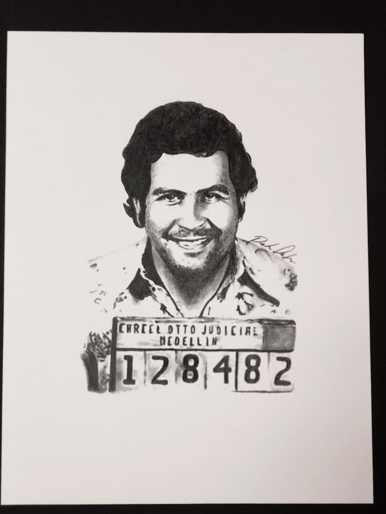 Pablo Escobar Portrait Drawing Print Etsy