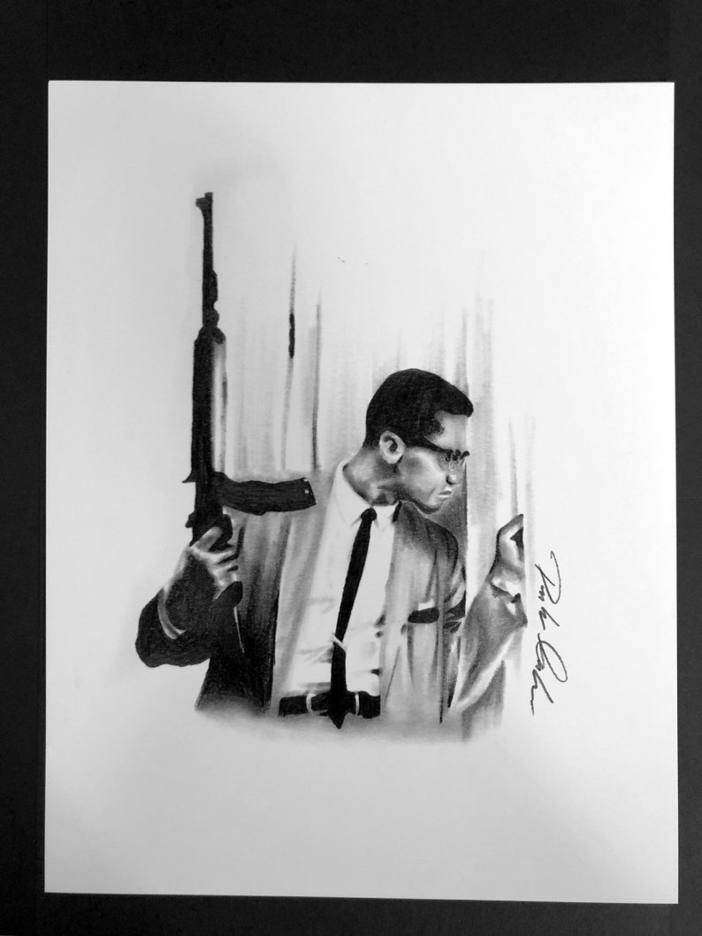 Malcolm X Portrait Drawing Print Etsy