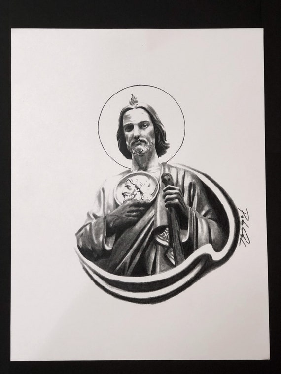 San Judas Tadeo Saint Jude Portrait Drawing Print Etsy