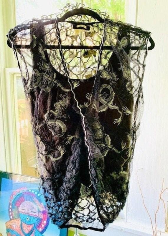 Designer lace top, 90s sheer women's black top, Vo