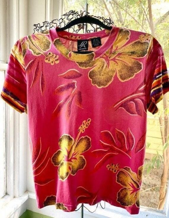 Silk tee, Vintage 90's summer women's flower pink