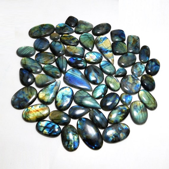 Immaculate A-One Quality Multi Purple Labradorite Natural Cabochon Pear Shape Gemstone 33.00 Ctr 30X22X6 MM A-502