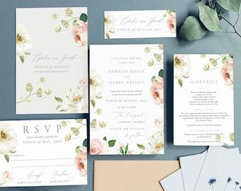 Wedding Invites Wedding Invite,Botanical Wedding Invitation Rustic|Floral-Sample SUMMER GRADEN No.5 Vintage Floral Wedding Invitations