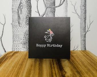 Bunny Rabbit Birthday Card - Hoppy Birthday - Birthday Rabbit