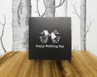 Bunny Rabbit Wedding Card - Hoppy Wedding Day - Bride and Groom Rabbit
