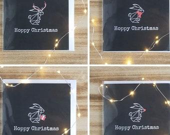 Pack of 4 Hoppy Christmas - Rabbit Christmas Cards