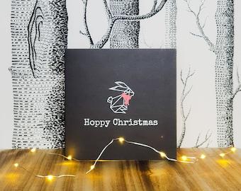 Bunny Rabbit Christmas Card - Hoppy Christmas - Scarf
