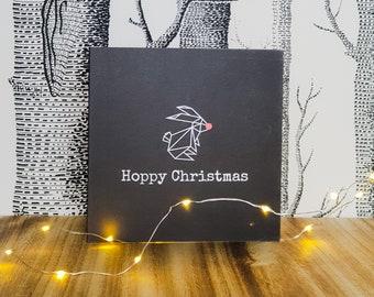 Bunny Rabbit Christmas Card - Hoppy Christmas - Rudolf Rabbit