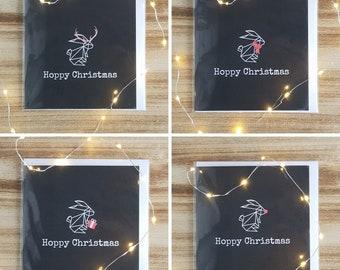 Pack of 8 Hoppy Christmas - Rabbit Christmas Cards