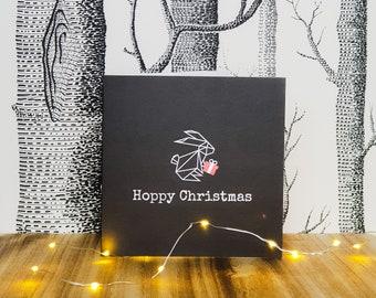 Bunny Rabbit Christmas Card - Hoppy Christmas - Gift