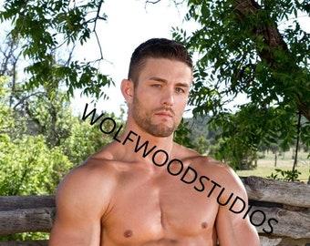 3788116291d05 Hot Farm Boy Cowboy Male Model Sexy Shirtless Masculine Buff Male Outside  Photo
